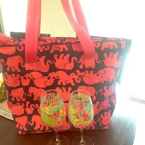 Lilly Pulitzer 3 pc cooler/tote + 2 glasses